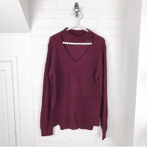 {Boutique} Planet Gold Maroon Collar Sweater